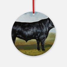 Black Angus Round Ornament