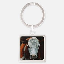 Hereford Cattle Square Keychain