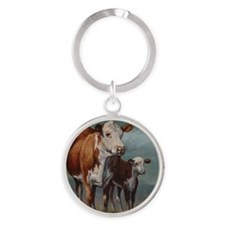 Hereford Cow and Calf in Pasture Round Keychain