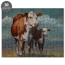 Hereford Cow and Calf in Pasture Puzzle