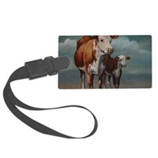 Hereford Cow and Calf in Pasture Luggage Tag