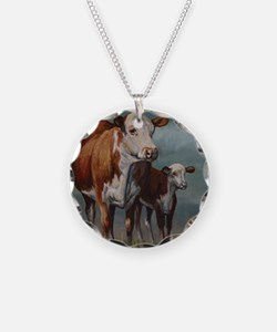 Hereford Cow and Calf in Pas Necklace