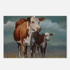 Hereford Cow and Calf in  Postcards (Package of 8)