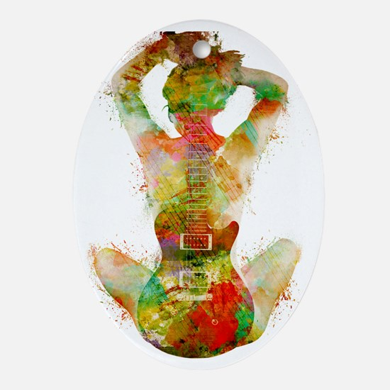Guitar Siren by Nikki Smith Oval Ornament