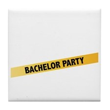 Bachelor Party Girls Police Tape Tile Coaster