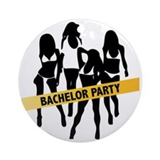 Bachelor Party Girls Police Tape Round Ornament