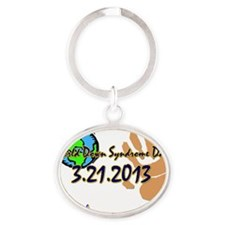 World Down Syndrome Day (hand) Oval Keychain