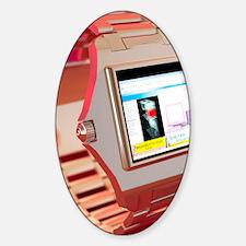 Wrist watch computer, computer artw Sticker (Oval)