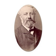 Jules Verne, French novelist Oval Car Magnet