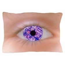 Zoom effect of eye with circuit board  Pillow Case