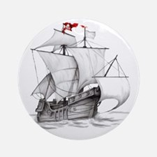 Pirate Ship Round Ornament