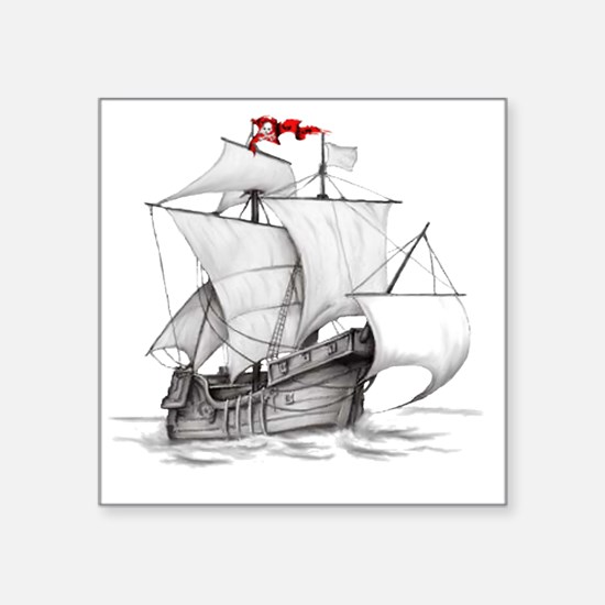 "Pirate Ship Square Sticker 3"" x 3"""