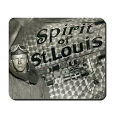 Lindbergh with his airplane, 1928 Mousepad