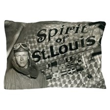 Lindbergh with his airplane, 1928 Pillow Case