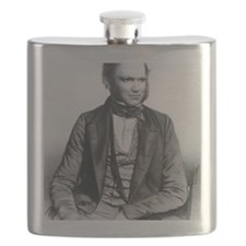 Lithograph of Charles Darwin aged 40 Flask