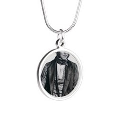 Lithograph of Charles Darwin Silver Round Necklace