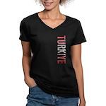 Turkiye Women's V-Neck Dark T-Shirt
