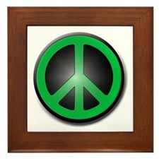 Green Peace Symbol glow Framed Tile