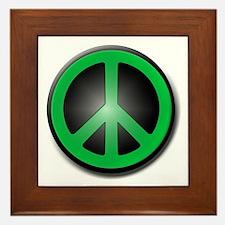 Green Peace Symbol glow Framed Tile