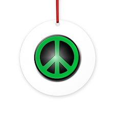 Green Peace Symbol glow Round Ornament