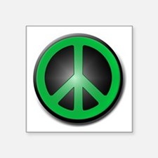 "Green Peace Symbol glow Square Sticker 3"" x 3"""