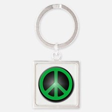 Green Peace Symbol glow Square Keychain