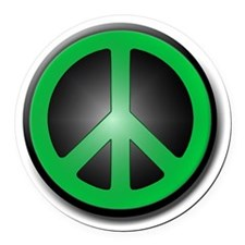 Green Peace Symbol glow Round Car Magnet