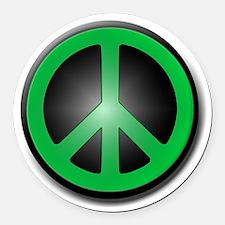 Green Peace Symbol glow Round Car Magnet