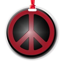 Glowing Red Peace Symbol Ornament