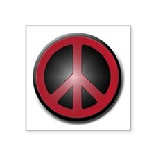 """Glowing Red Peace Symbol Square Sticker 3"""" x 3"""""""