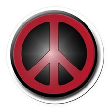 Glowing Red Peace Symbol Round Car Magnet