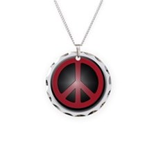 Glowing Red Peace Symbol Necklace