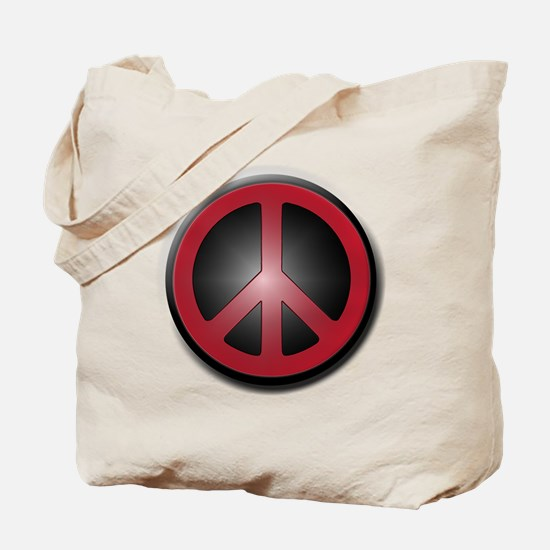 Glowing Red Peace Symbol Tote Bag