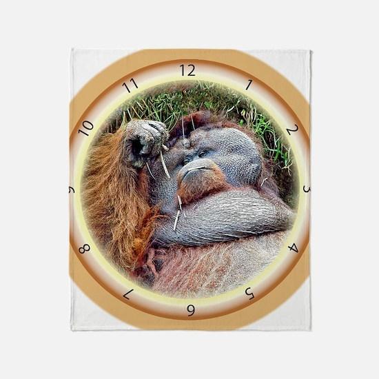 Lazy Orangutan Throw Blanket