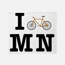 I Bike MN Black/Orange Throw Blanket
