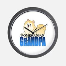 Cream Pomeranian Grandpa Wall Clock