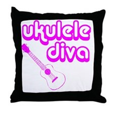 Ukulele Diva Throw Pillow