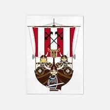 Vikings and Longship 5'x7'Area Rug