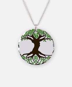 colored tree of life Necklace Circle Charm