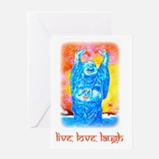 Live, Love, Laugh Buddha t-shirts Greeting Card