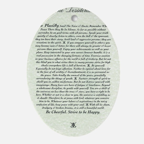 DESIDERATA Poem Oval Ornament