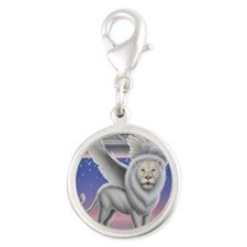 Winged Lion Silver Round Charm