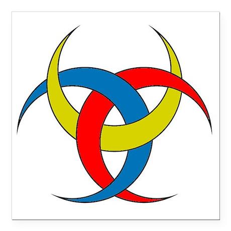 "Colored Triple Goddess Square Car Magnet 3"" x 3"""