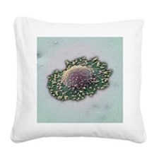 Lung cancer cell, SEM Square Canvas Pillow