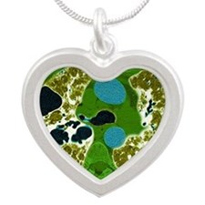 Lung fibrosis, CT scan Silver Heart Necklace