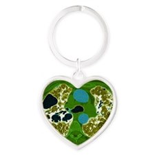 Lung fibrosis, CT scan Heart Keychain