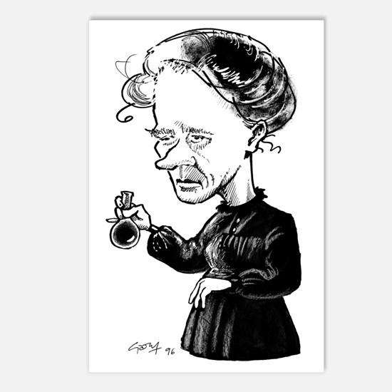 Marie Curie, caricature Postcards (Package of 8)