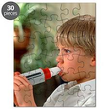 Lung function: boy breathes into peak flow  Puzzle