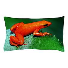 Golden Mantella Frog Perching on a Lea Pillow Case