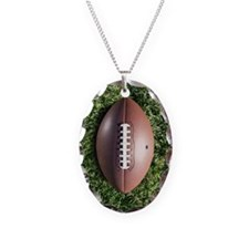 American football on grass Necklace Oval Charm